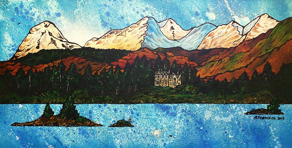Commissioned painting of The Ardanaiseig Hotel, Kilchrenan, Loch Awe, Scottish Highlands.