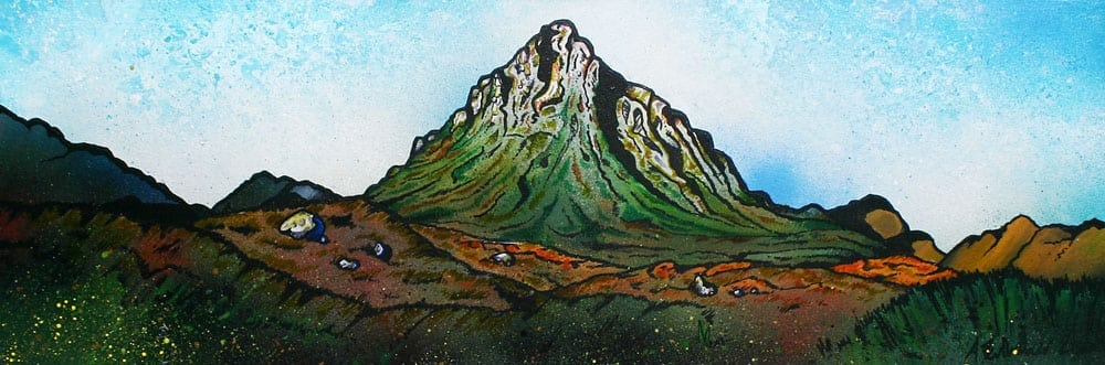 An original commissioned painting of Buachaille Etive Mor, Stob Dearg, Glen Etive, Glencoe, Scottish Highlands.