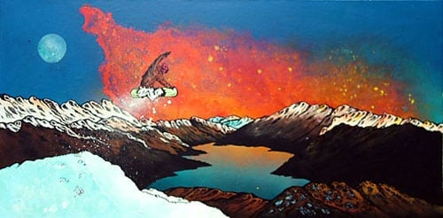 Commissioned painting of a snow boarder and mountains.