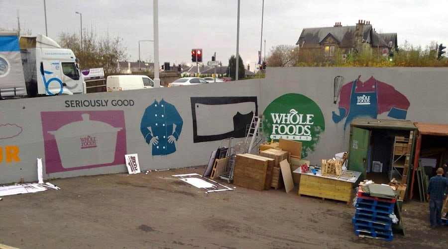 Commissioned mural spray painting for Whole Foods Ma