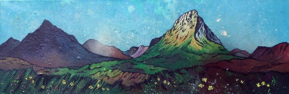 Glencoe & Glen Etive, Scottish Highlands .original Scottish landscape painting by Glasgow artist A Peutherer. Original mixed media painting in acrylic paint, spray paint, oil paint and acrylic ink on box canvas.