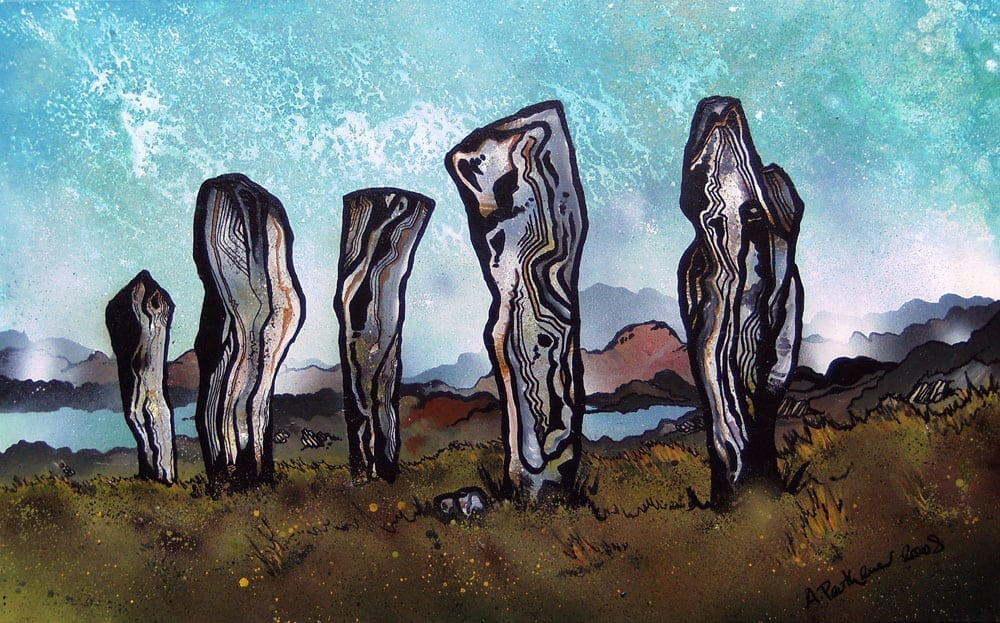 Painting & prints of The Callanish Standing Stones, Callanish, Isle Of Lewis, Outer Hebrides, Scotland.