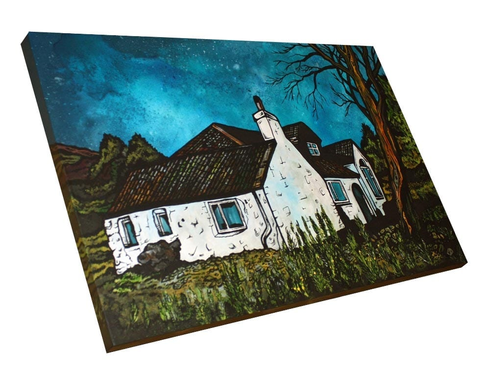 Commissioned painting of a Highland cottage, Scotland.