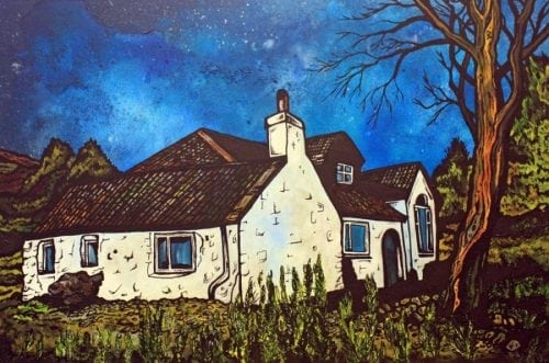 Contemporary mixed media fine art landscape painting and prints of a Highland Cottage, Highlands, Scotland.