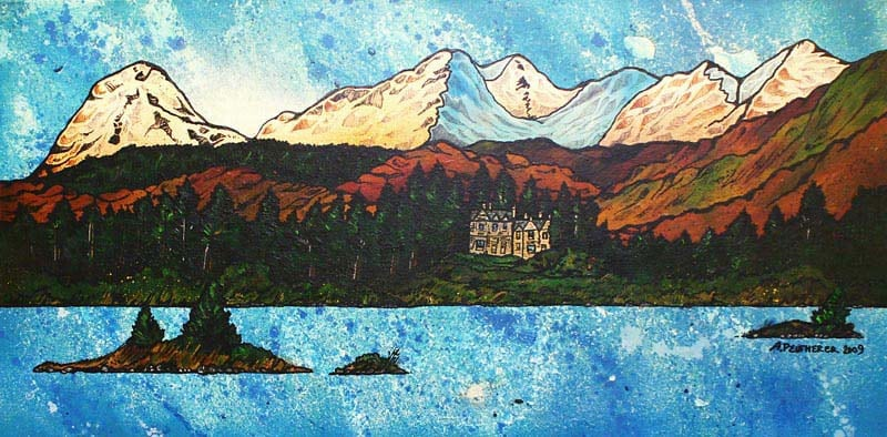 Commissioned Scottish landscape painting of the Ardanaiseig Hotel from Loch Awe.