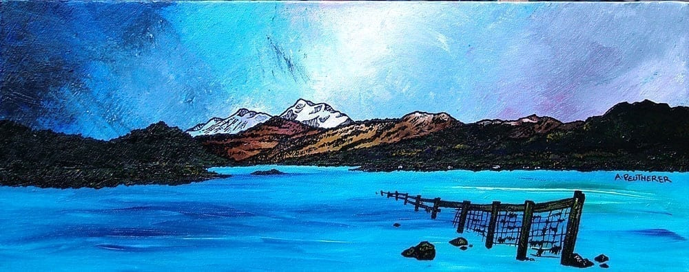 Paintings and prints of First Snow on Ben Lomond from Gartocharn, Loch Lomond, Scotland.