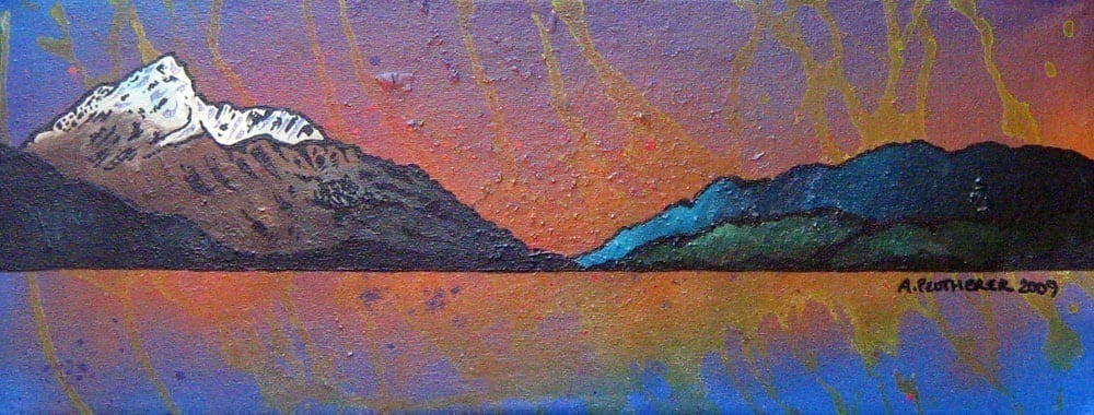 Contemporary Scottish fine art paintings and prints of Ben Lomond Autumn Sunset, Loch lomond, The Trossachs, Scotland.