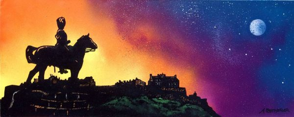 Edinburgh Paintings & Prints – Royal Scots Greys Statue and Edinburgh Castle Dusk, Scotland.