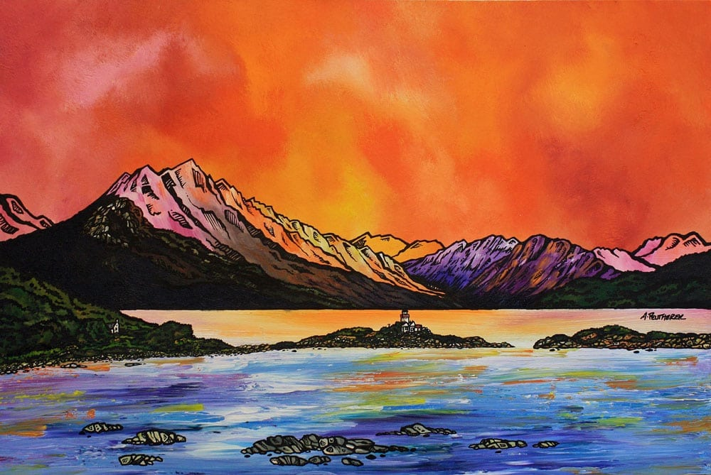Painting & prints of Ben Sgritheal and Isle Ornsay, Sound Of Sleat, Isle Of Skye, Scotland.