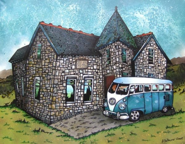 Commissioned mixed media painting of a client's house and VW Camper Van
