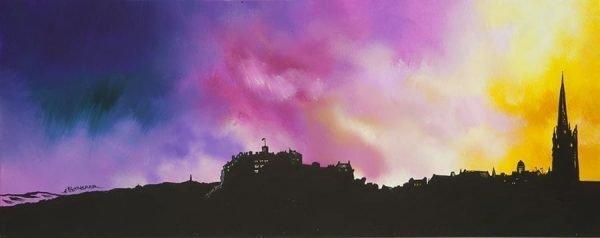 Scottish painting & prints of Edinburgh City skyline, Scotland