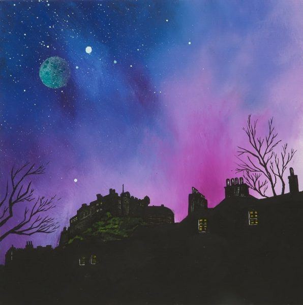 Edinburgh Castle dusk From The Grass Market, Edinburgh, Scotland – Original Painting & Prints