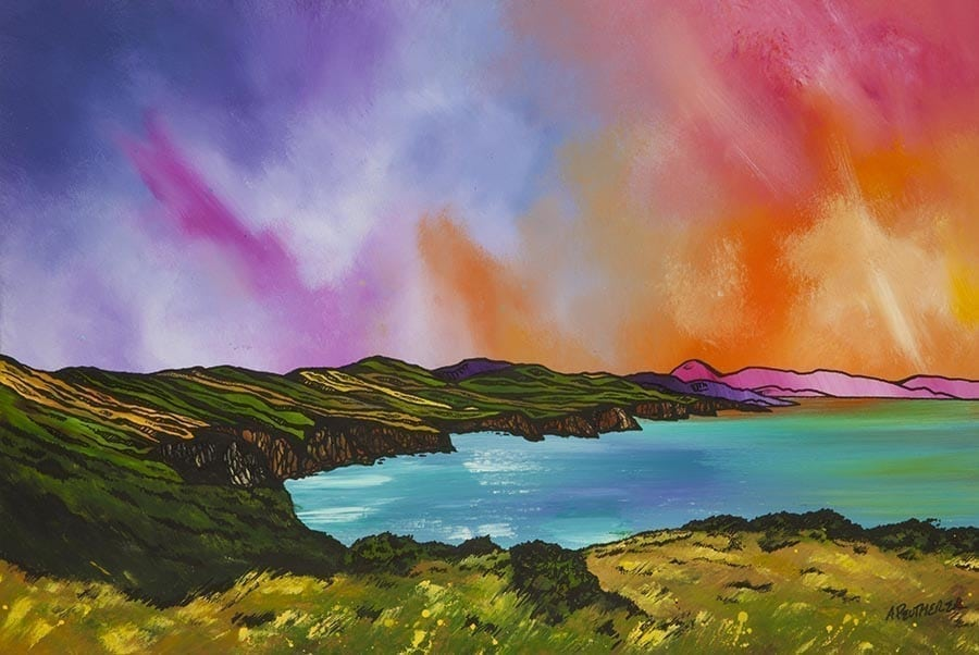 Scottish painting & prints of Pease Bay, Berwickshire, Scotland. Scottish Contemporary landscape painting.