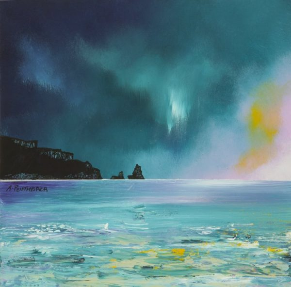 Paintings & Prints of Skye – Isle of Skye, Storm Approaching Talisker Bay, Scotland.