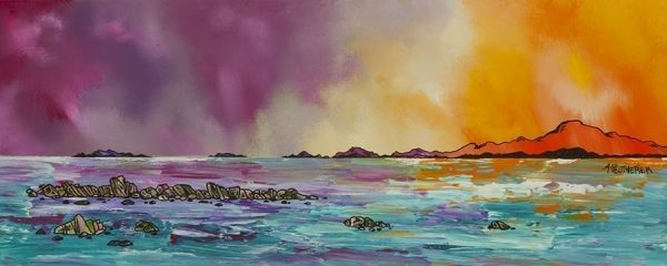 Painting & Prints Of Tiree – Evening Light Over The Western Isles, Scotland.