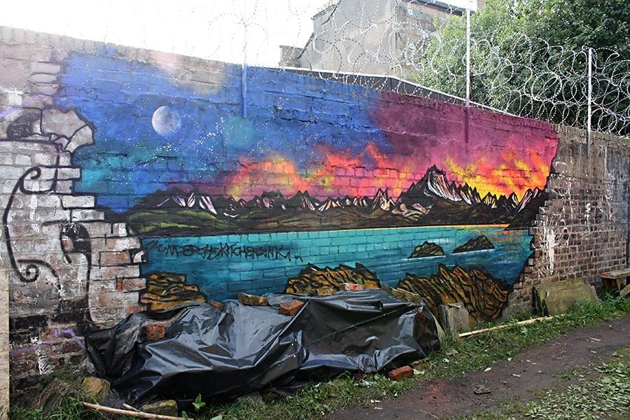 Spray painted graffiti mural of The Cuillin From Elgol, Isle of Skye.