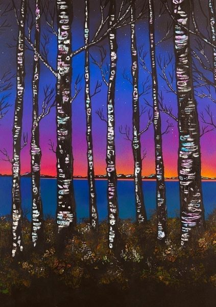 Loch Lomond Paintings & Prints – Loch Lomond Dusk Through The Birch Woods, Scotland. (crop 1)
