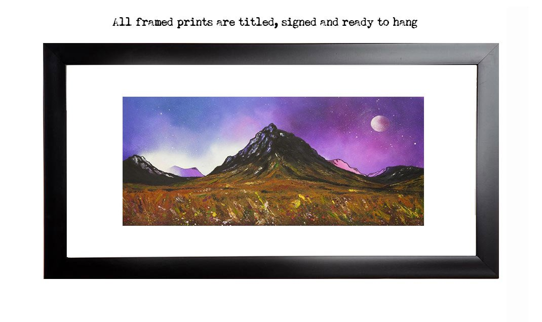 Framed prints of glencoe, glen etive & buachaille etive mor, scottish highlands. from an original Scottish landscape painting by Glasgow artist A Peutherer. Original mixed media painting in acrylic paint, spray paint, oil paint and acrylic ink on box canvas.