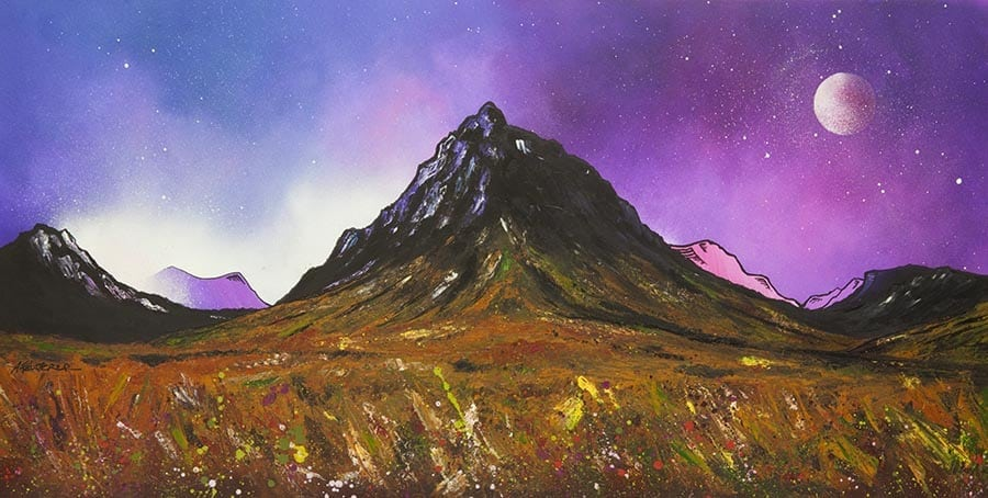 painting & prints of glencoe, glen etive & buachaille etive mor, scottish highlands.