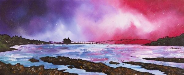 Paintings & prints of Arran – Lochranza Castle Dusk, Loch Ranza, Isle Of Arran, Scotland.