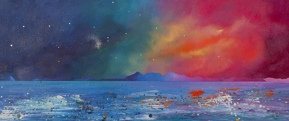 painting & prints of Arran & Ailsa Craig, Firth of clyde, Ayrshire, Scotland. from an original Scottish landscape painting by Glasgow artist A Peutherer. Original mixed media painting in acrylic paint, spray paint, oil paint and acrylic ink on box canvas.