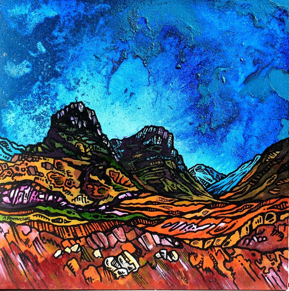 Glencoe & The Three Sisters, painting & prints, Scottish Highlands. an original Scottish landscape painting by Glasgow artist A Peutherer. Original mixed media painting in acrylic paint, spray paint, oil paint and acrylic ink on box canvas.