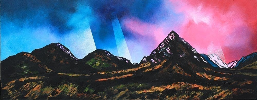 Rannoch Moor, Glencoe & Glen Etive, Scottish highlands, painting & prints by Scottish artist A Peutherer. Acrylic, oil paint & spray paint on box canvas, available framed or unframed or as a print.