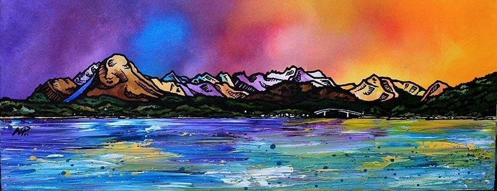 Original commissioned painting and prints of The Isle Of Skye From Balmacara, Loch Alsh, Scottish Highlands. Original mixed media painting in acrylic paint, spray paint, oil paint and acrylic ink on box canvas by scottish artist A Peutherer.