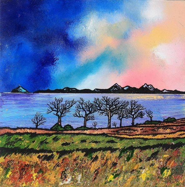 Paintings & prints of Arran – Towards Arran & Ailsa Craig From Ayrshire, Scotland.