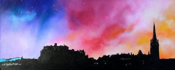 Edinburgh Paintings & Prints – Edinburgh City Skyline at Sunset, Scotland.