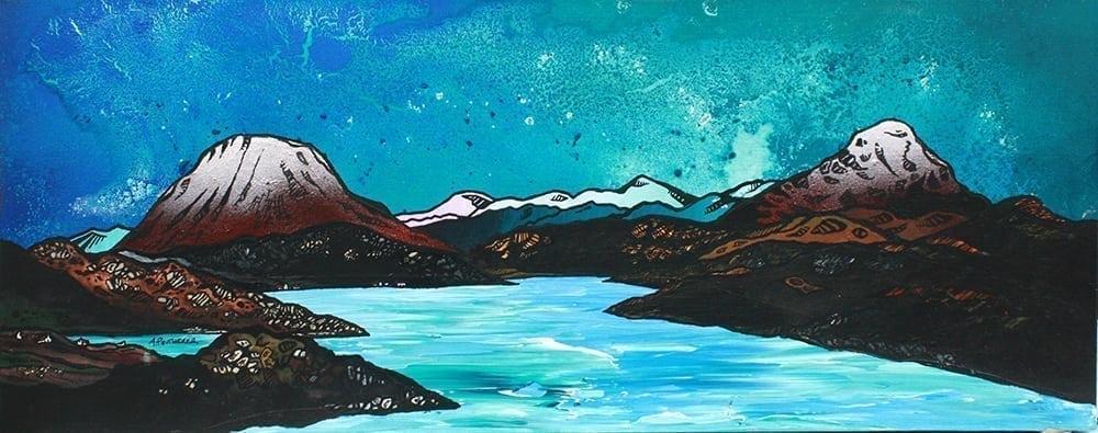 Paintings & Prints of Across loch Inchard towards Ben Arkle & Ben Stack, Kinlochbervie, Sutherland, Scottish Highlands.