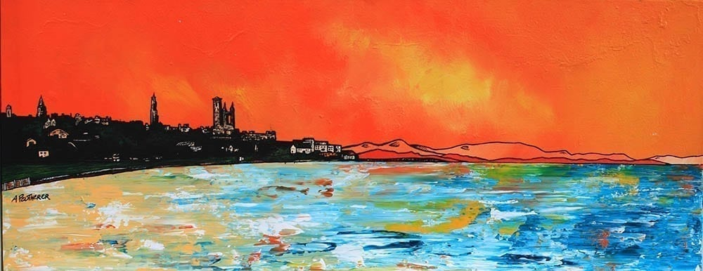 Painting & prints of St Andrews, Scotland, Scottish highlands, from an original Scottish landscape painting by Glasgow artist A Peutherer. Original mixed media painting in acrylic paint, spray paint, oil paint and acrylic ink on box canvas.