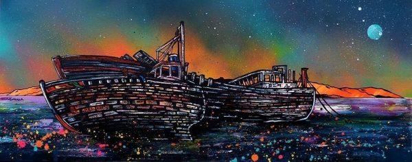 Painting & Prints – Salen Boat Wrecks Dusk, Isle Of Mull, Hebrides, Scotland.