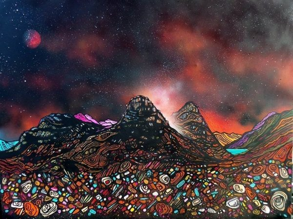 Glencoe Paintings & Prints – Blood moon, Three Sisters Of Glencoe, Scottish highlands