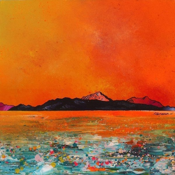 Paintings & prints of Arran – Isle of Arran Summer Glow, Ayrshire, Scotland.
