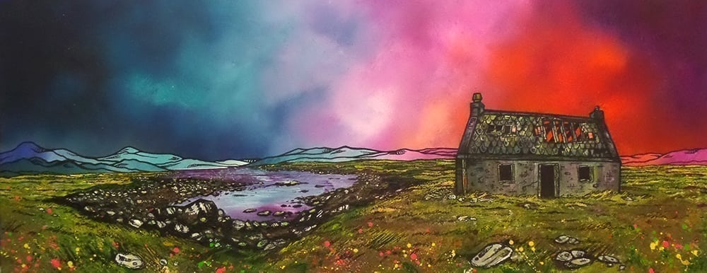 Painting & prints of an Isle of South Uist Croft House, Hebrides, Scotland.
