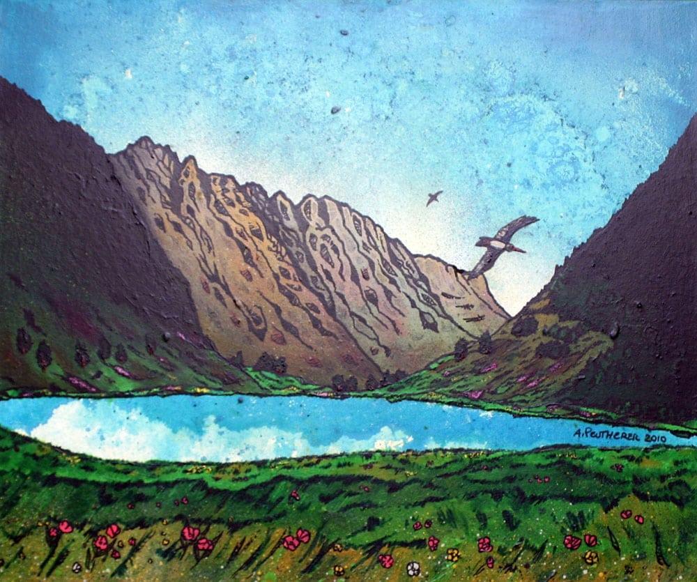 painting and prints of The Aonach Eagach Ridge, GlenCoe, Scotland.