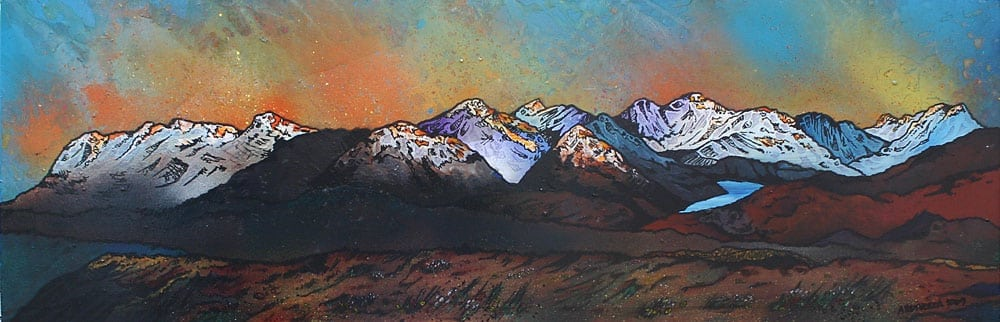 painting and prints of The View From Beinn Dearg Monaliath, Scottish highlands.