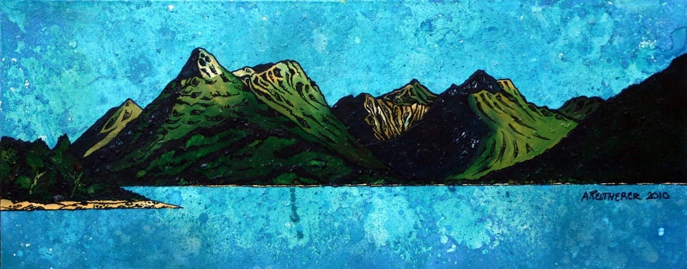 Painting and prints of The Pap of Glenoe, Sgorr na Ciche and Bidean nam Bian, Argylle, Scotland.