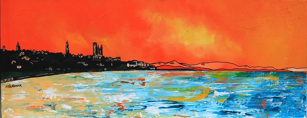 Commissioned painting of St Andrews Sunrise over the beach, Scotland.