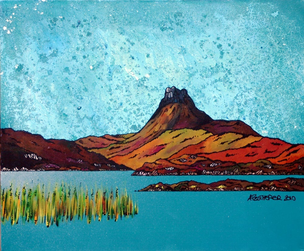 painting and prints of Stac Pollaidh across the Loch, Torridon, Scottish Highlands.