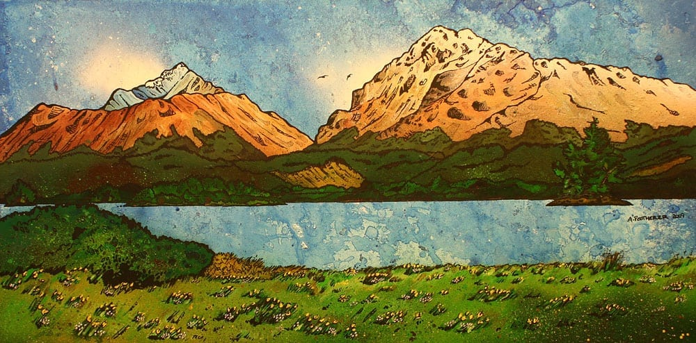 painting and prints of Loch Awe from The Ardanaiseig Hotel, Kilchrenan by Taynuilt Scottish highlands.