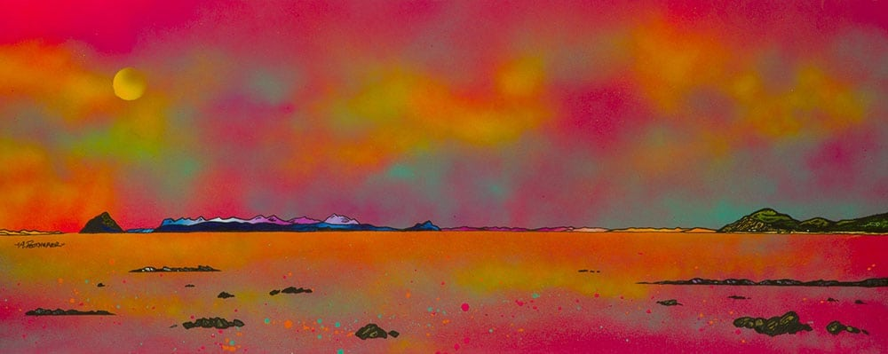Painting & prints of Ailsa Craig, Arran and The Holy Isle From Ballantrae, Ayrshire, Scotland.
