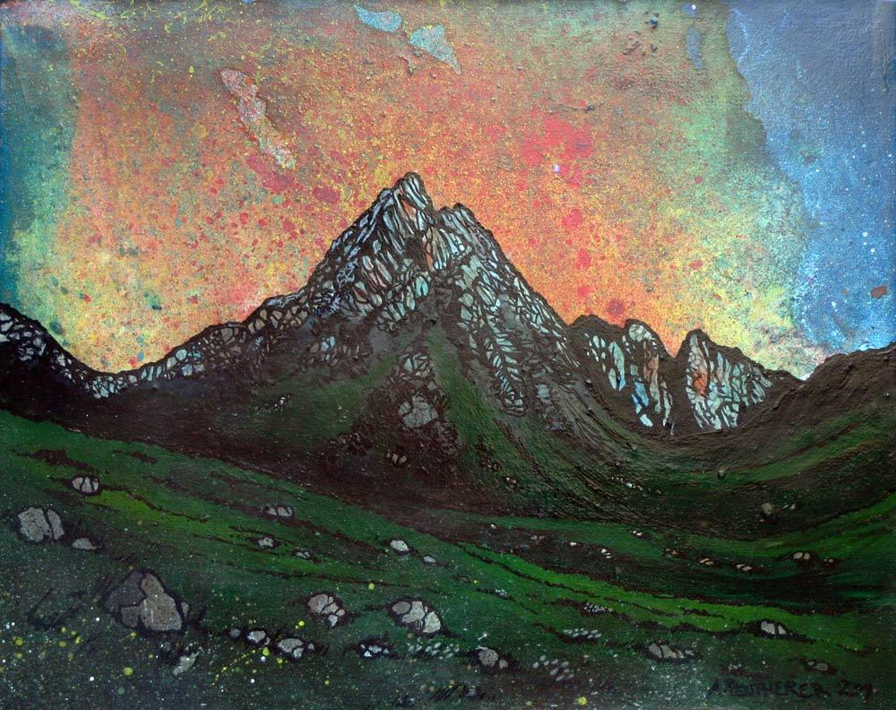 painting & prints of Arran, Glen Rosa Sunset, Ayrshire Coast, Scotland.