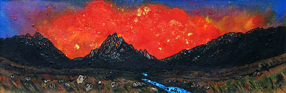 painting and prints of Arran, Glen Rosa and The Saddle Spring Sunset, Ayrshire, Scotland.