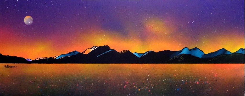 painting and prints of Ben Nevis Winter Glow Over Loch Linnhe From Craignure, Isle Of Mull, Scotland.