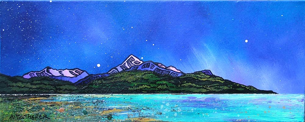 painting and prints of Arran. Brodick Bay Winter, Goatfell & Meall Breac, Scotland.