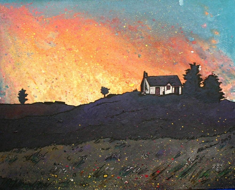 painting & prints of Isle of Skye Croft House, Scottish western Isles.