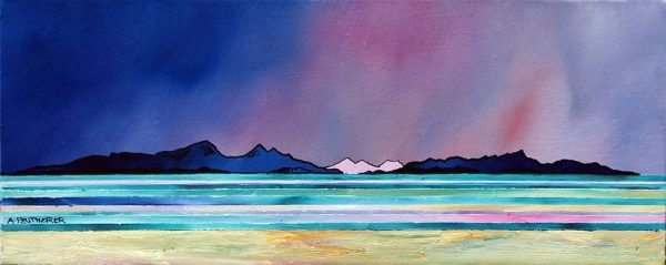 painting & prints of Rum and Eigg From West Coast Beach, Scotland.