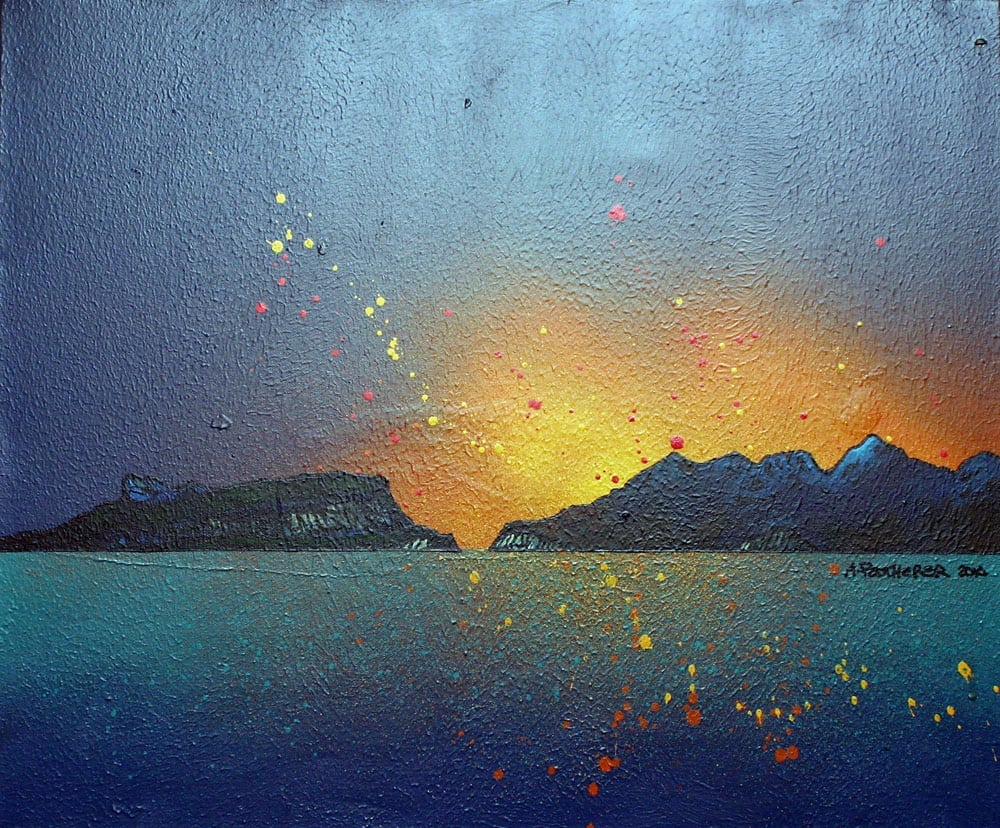painting & prints of The Isles of Eigg and Rum, Hebrides Scotland.